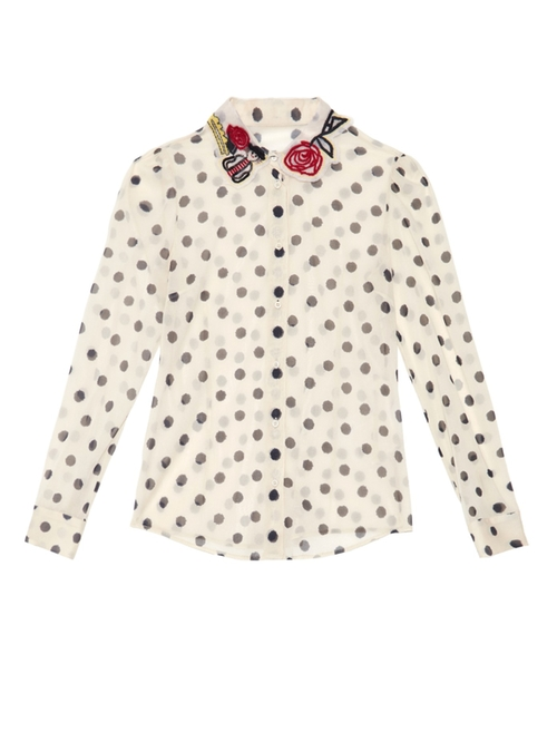 Embroidered Polka-Dot Silk-Blend Blouse by Redvalentino in Valentine's Day