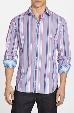'Los Roques' Regular Fit Stripe Sport Shirt by TailorByrd in Black-ish