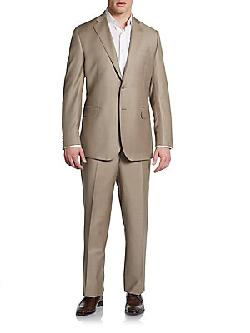 Classic Wool/Silk Trim-Fit Suit by Saks Fifth Avenue BLACK in Million Dollar Arm