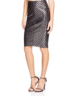 Metallic Stripe Pencil Skirt by Minkpink in Scream Queens