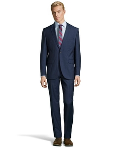 Medium Blue Microcheck Super 100s Virgin Wool 2-Button 'James 3 / Sharp 5' Suit With Flat Front Pants by Hugo Boss in Suits