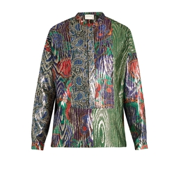 Multi-Jacquard Silk-Blend Lamé Shirt by Maison Rabih Kayrouz in Empire