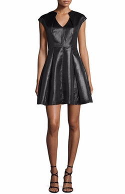 Cap-Sleeve Metallic Jersey Dress by Halston Heritage in La La Land