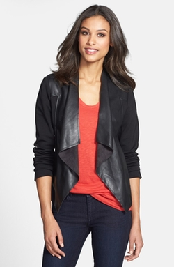 Lincoln Faux Leather Drape Front Jacket by Kut From The Kloth in The Vampire Diaries