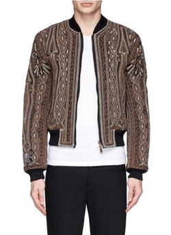 Vinny Rope Embroidery Cotton Bomber Jacket by Dries Van Noten in Empire
