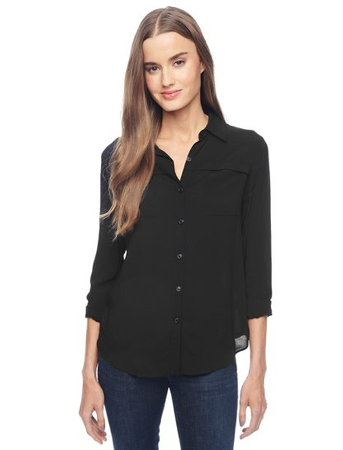 Rayon Voile Button Down Shirt by Splendid in Keeping Up With The Kardashians