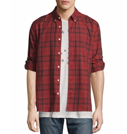 Plaid Slim-Fit Sport Shirt by John Varvatos Star USA in Animal Kingdom