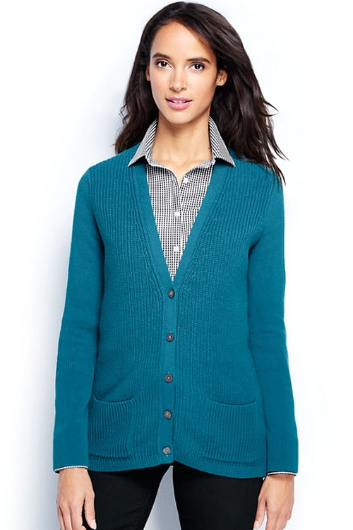 Women's Cotton Shaker Cardigan Sweater by Land's End in Modern Family