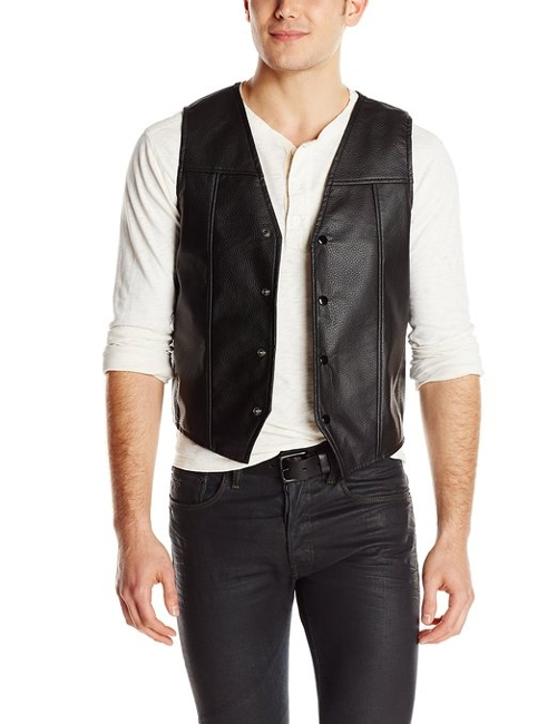 Leather Satin-Lined Embroidered Wings Vest by Walking Dead in Ricki and the Flash