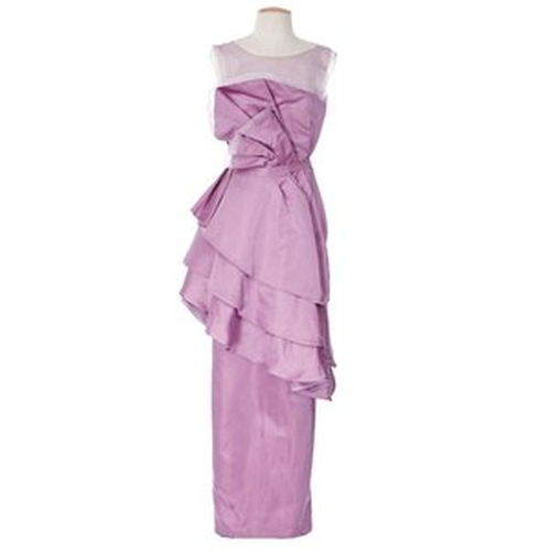"""Fritz Bernaise"" Origami Satin Dress (Megan Price) by Leesa Evans and Christine Wada (Costume Designers) in Bridesmaids"