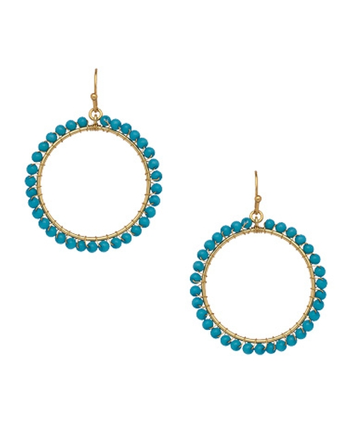 Beaded Tabitha Hoops Earrings by Flying Lizard in Legend
