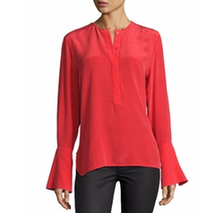 Kanley Bell-Sleeve Silk Shirt by Equipment in Murder on the Orient Express