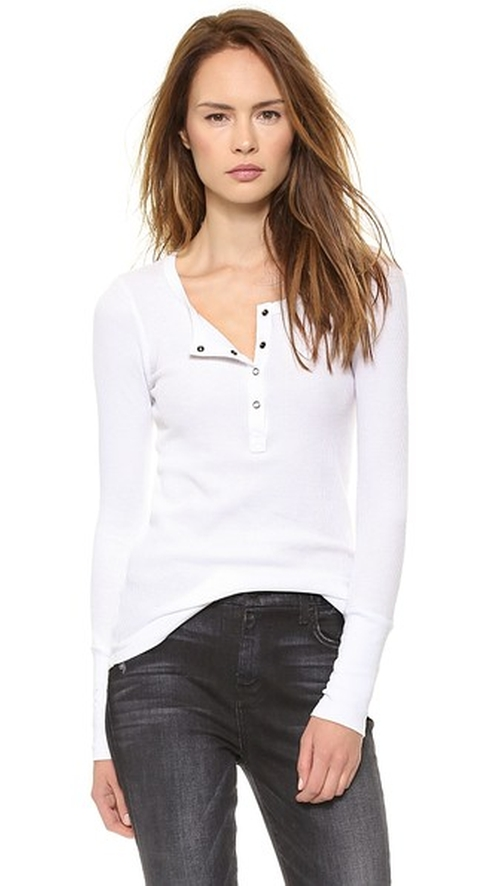 Thermal Henley Top by Splendid in Keeping Up With The Kardashians - Season 11 Episode 3