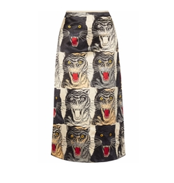 Printed Silk-Charmeuse Midi Skirt by Gucci in Will & Grace