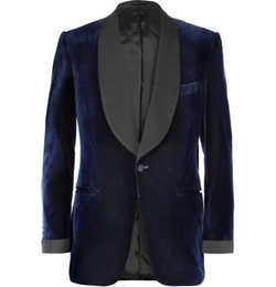 Blue Velvet Smoking Jacket With Silk-Grosgrain Shawl-Collar by Kingsman for Mr. Porter in Kingsman: The Secret Service