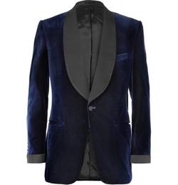Blue Velvet Smoking Jacket With Silk-Grosgrain Shawl-Collar by Kingsman for Mr. Porter in Kingsman: The Secret Service