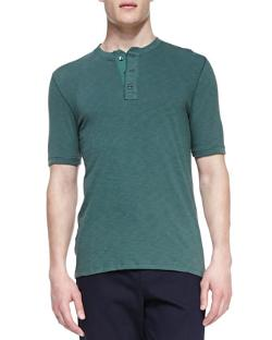 Jersey-Flame Short-Sleeve Henley by Vince in Yves Saint Laurent