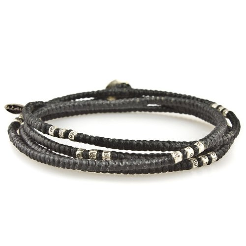 Knotted 4-Layer Silver Thai Stamped Wrap Bracelet by M. Cohen in Entourage
