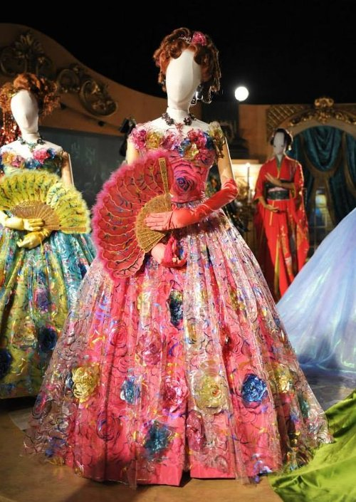 Custom Made Pink Floral Tacky Ball Gown (Anastasia) by Sandy Powell (Costume Designer) in Cinderella