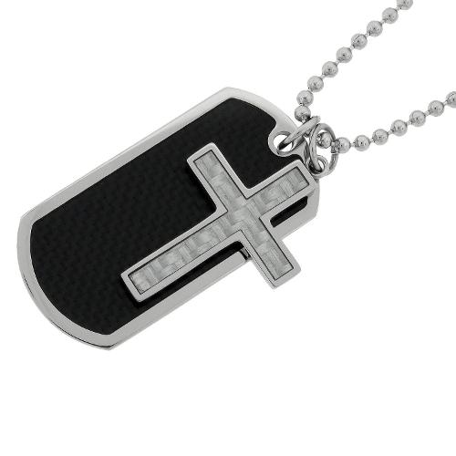 Men's Stainless Steel Dog Tag and Cross Pendant Necklace by Amazon Curated Collection in Hot Tub Time Machine 2