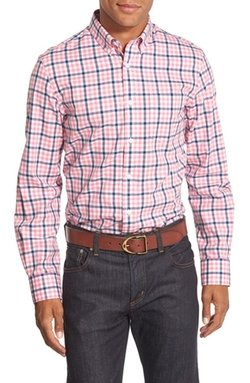 Trim Fit Plaid Poplin Sport Shirt by Nordstrom in Modern Family