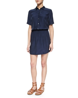 Short-Sleeve Silk Shirtdress by ATM in New Girl