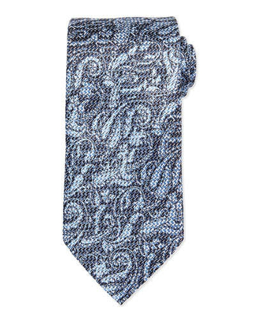 Woven Airbrush Tonal Paisley Tie by Ermenegildo Zegna in Suits