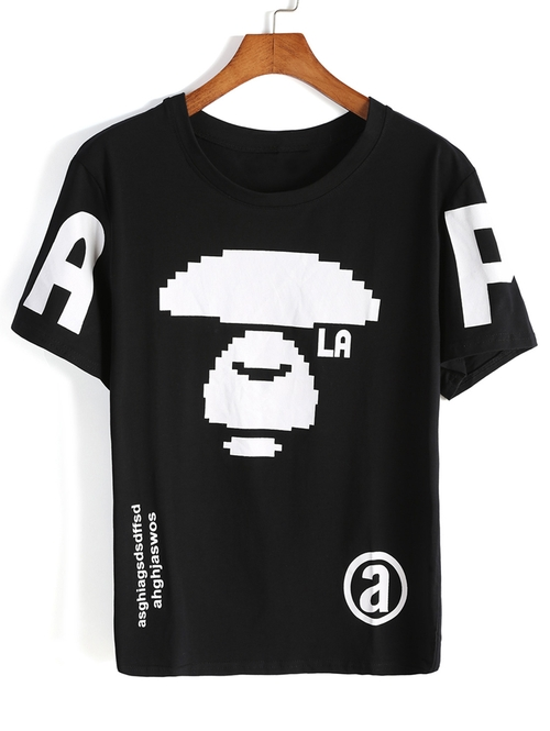 Letter Print Black T-Shirt by Romwe in Ricki and the Flash