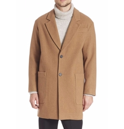 Wool Blend Two-Button Coat by Ami in Collide