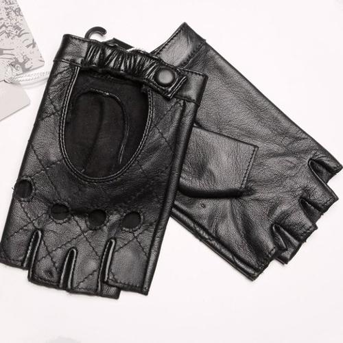Women's Punk Performance Fingerless Leather Gloves by Warmen in Brick Mansions