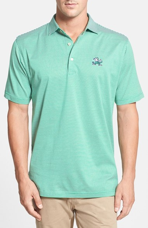 'Notre Dame - Sugar Stripe' Regular Fit Polo Shirt by Peter Millar in Horrible Bosses 2