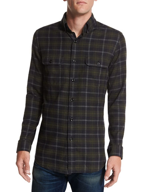 Plaid Flannel Sport Shirt by Tom Ford in Empire