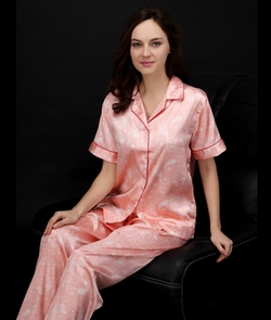 Women Pajamas Summer Style Print Silk by Doula's Store in Mr. & Mrs. Smith