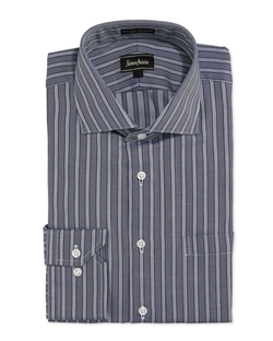 Herringbone-Stripe Dress Shirt by Neiman Marcus in The 33