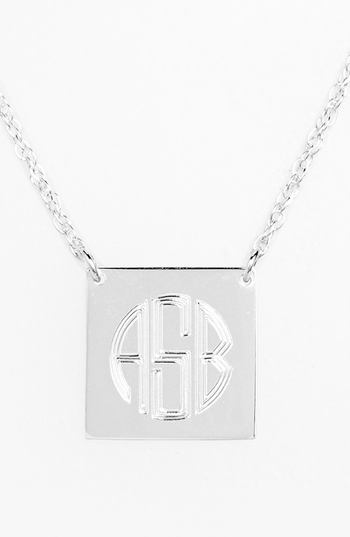 Personalized Square Pendant Necklace by Jane Basch Designs in Mean Girls