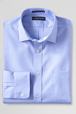 Traditional Fit Spread Collar Solid Supima No Iron Pinpoint Dress Shirt by Land's End in She's Funny That Way