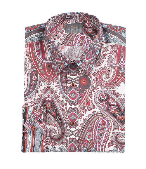 Engineered Paisley-Print Long-Sleeve Woven Shirt by Thomas Dean in Savages