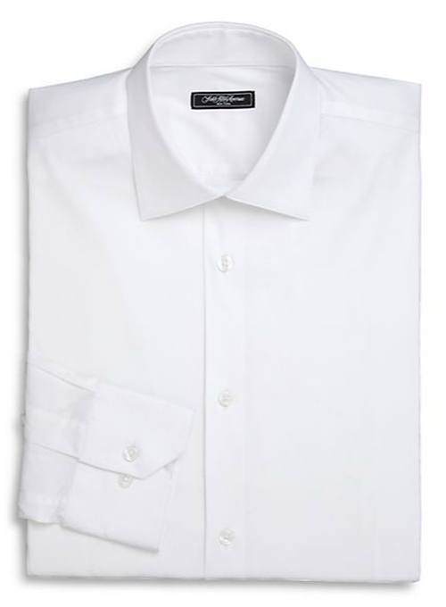 Trim-Fit Solid Dress Shirt by Saks Fifth Avenue Collection in Black Mass