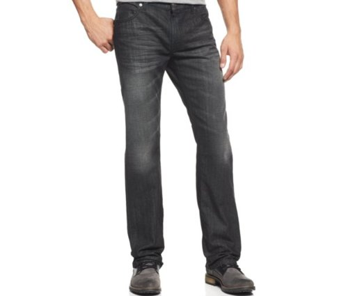 Dark Wash Straight Leg Jeans by INC International Concepts in Kick-Ass