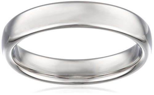 Men's White Gold European Comfort Fit Wedding Band by Amazon Curated Collection in Interstellar