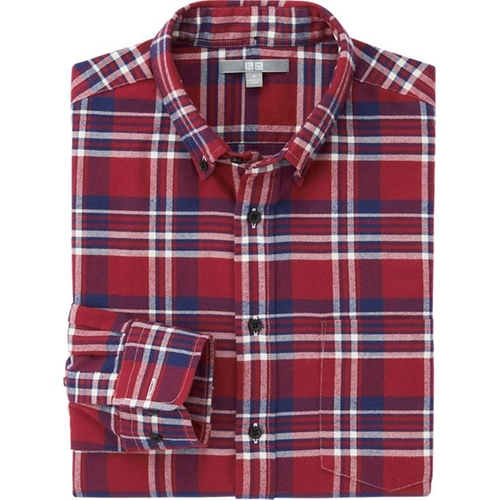 Flannel Check Long Sleeve Shirt by Uniqlo in Krampus