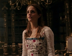 Custom Made Floral White Dress by Jacqueline Durran (Costume Designer) in Beauty and the Beast