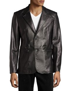 Two-Button Leather Blazer by AG Adriano Goldschmied in John Wick