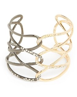 Two Tone Chain Cuff Bracelet by Alexis Bittar in Top Five
