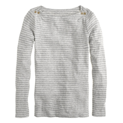 Gray Painter Boatneck Button Tee in Skinny Stripe by J.Crew in Poltergeist
