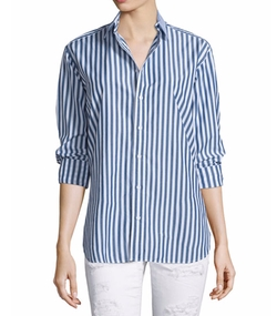 Button-Front Striped Boyfriend Shirt by Rag & Bone/Jean in Silicon Valley