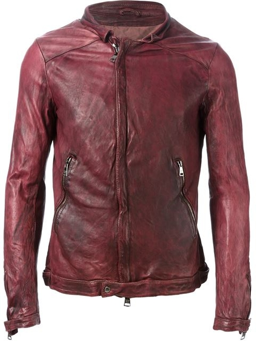 Zip Leather Jacket by Giorgio Brato in Burnt