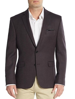 Wool Herringbone Blazer by Tallia in Rosewood