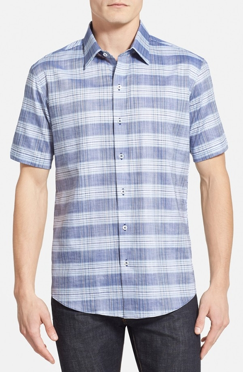 Plaid Cotton & Linen Sport Shirt by Zachary Prell in Love & Mercy