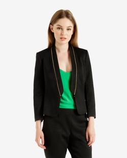 Leopard Jacquard Zip Detail Blazer by Ted Baker in Arrow